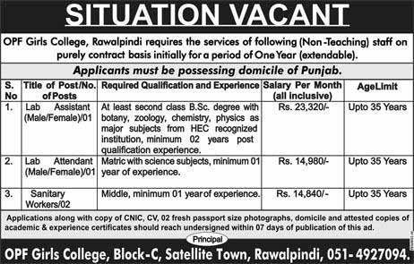 Male Female Jobs in OPF Girls College 2019