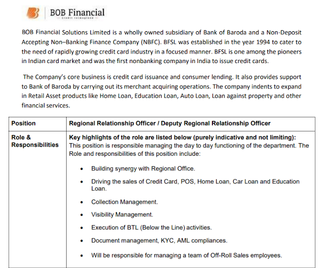 BOB Financial Recruitment - 1 Deputy Regional Relationship Officer, Regional Relationship Officer - Last Date: 19th June 2021