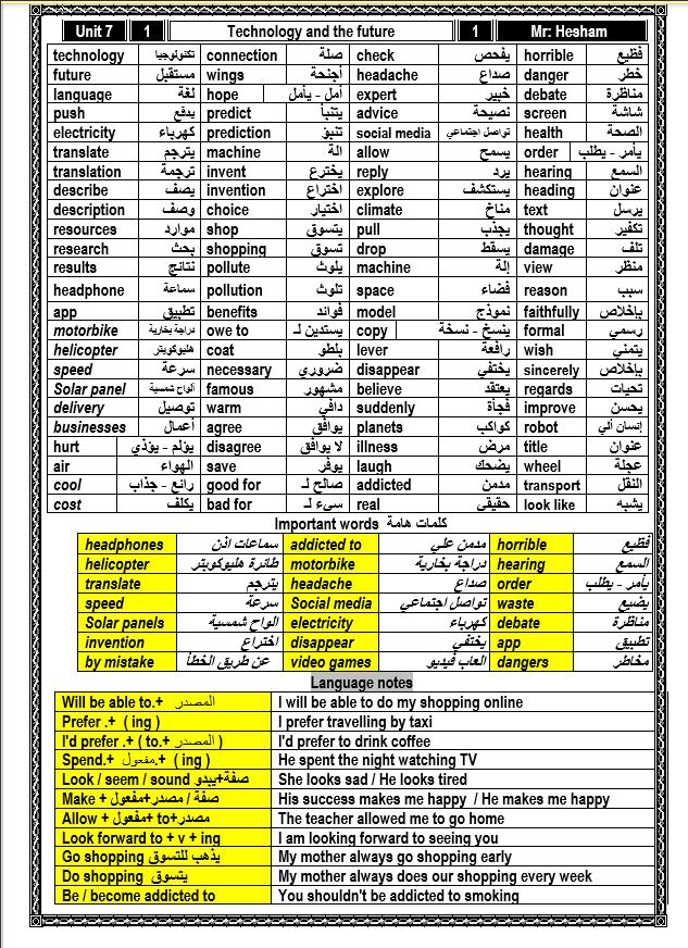 أول مذكرة وورد word كاملة لغة انجليزية الصف الثانى الإعدادى الترم الثاني 2021 مستر هشام ابوبكر