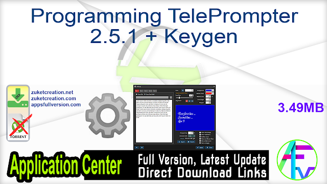 Programming TelePrompter 2.5.1 + Keygen