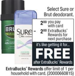 FREE Sure or Brut Deodorant CVS Deal 9-26-10-2