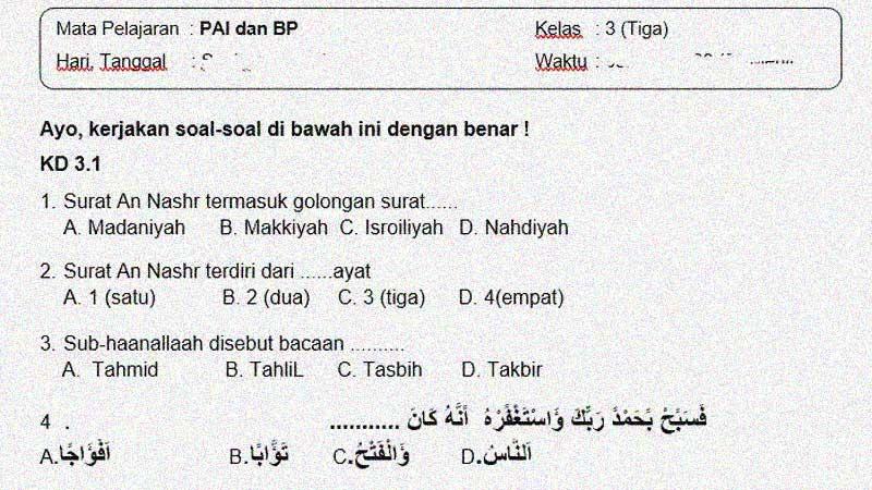 Soal dan Kunci Jawaban PTS Mapel PAI dan BP Kelas 3 Semester 1