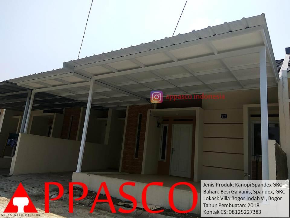 Kanopi Minimalis Atap Spandek Peredam GRC di Villa Bogor Indah 6
