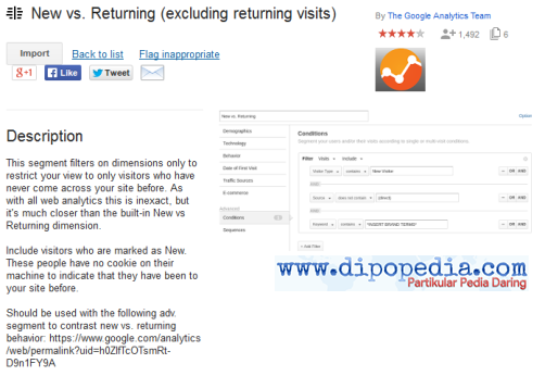 Ilustrasi Galeri Solusi Tim Google Analytics New vs. Returning (excluding returning visits) - Dipopedia