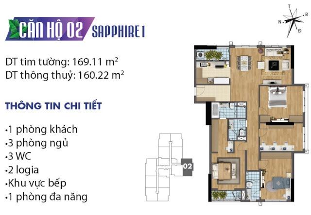 Thiết kế căn hộ số 2 tòa Sapphire 1