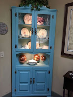 Blue aqua hutch for dining room decoration with built-in lighting