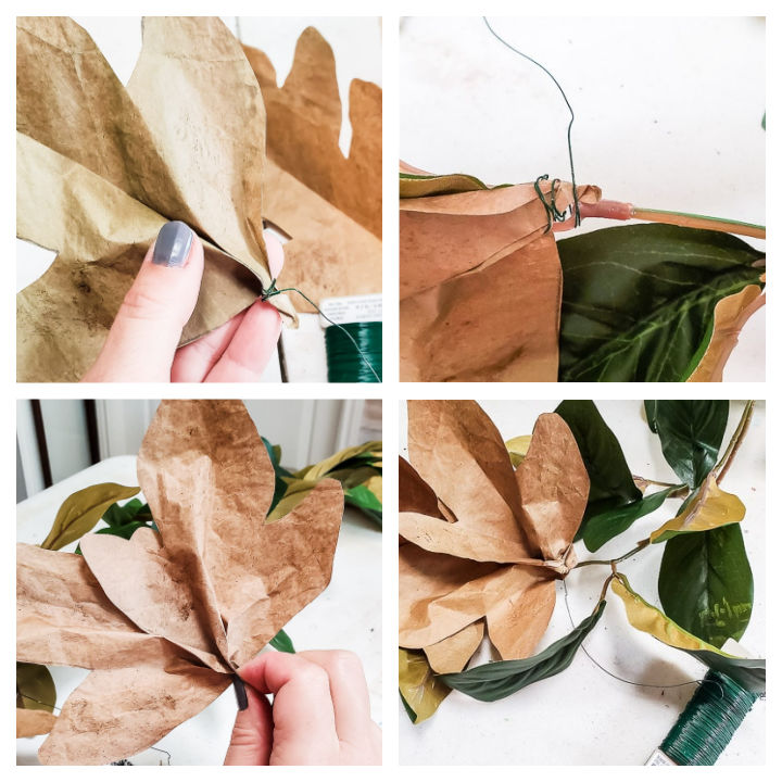 wire paper leaves to magnolia garland