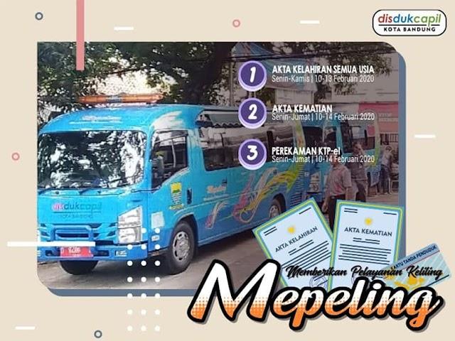 Jadwal dan Lokasi Mepeling Disdukcapil Kota Bandung 10 - 14 Februari 2020