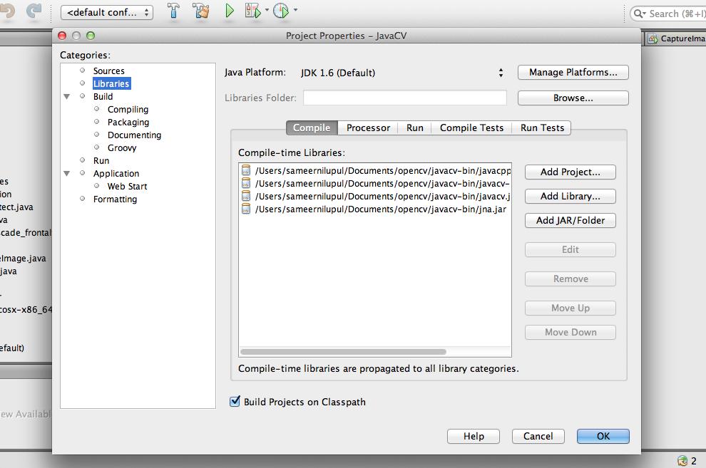 Configure JavaCV on Mac OS X | Ask Yoda