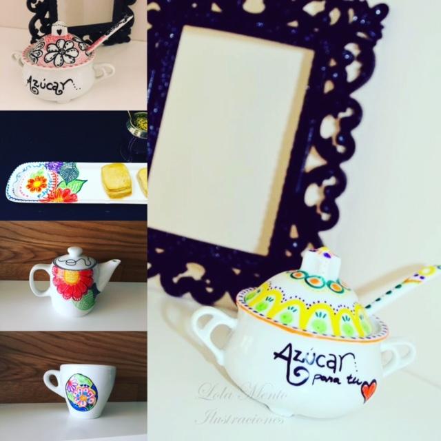 LolaMento, ilustraciones Lola Mento, Lola Mento Ilustraciones, lolamento ilustraciones, ilustraciones lola mento, condimento, vajilla pintada, vajilla ilustrada, ceramica pintada