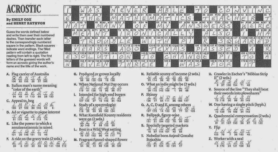 The New York Times Crossword in Gothic: 06.01.14 — Quite ...