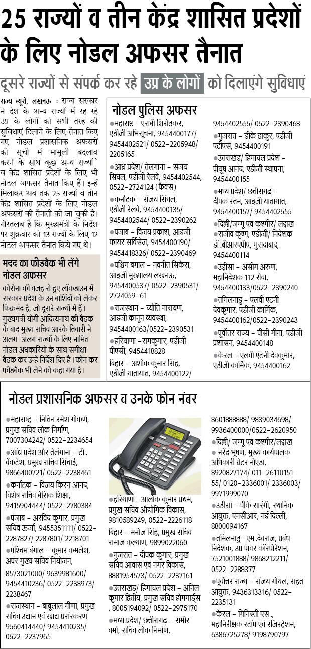25 राज्यों व तीन केंद्र शासित प्रदेशों के लिए नोडल अफसर तैनात: नोडल प्रशासनिक अफसर व उनके फोन नंबर