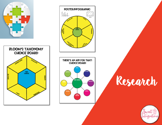 Research with choice board templates
