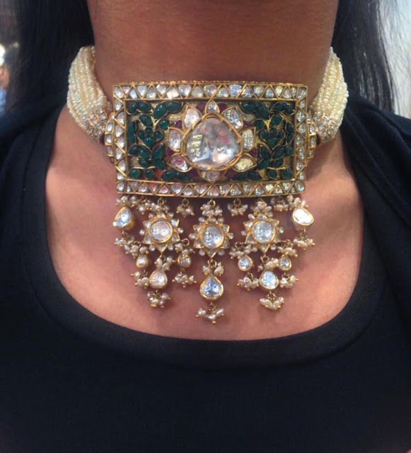 Pearls Choker with Polki Emerald
