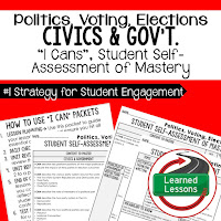 Politics, Voting, Elections, Civics and Government I Cans, Self-Assessment of Mastery, Student Ownership of Learning