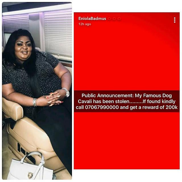 Eniola Badmus cries out over stolen ' famous dog stolen,promises 200k reward