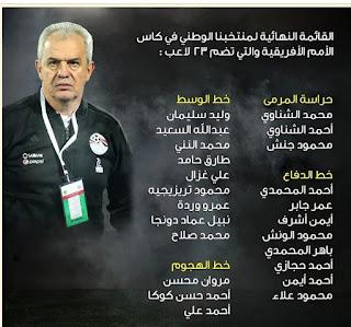 قائمة منتخب مصر النهائية المشاركة في أمم إفريقيا 2019