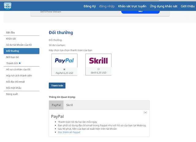 Cách rút tiền từ Mobrog về tài khoản Paypal