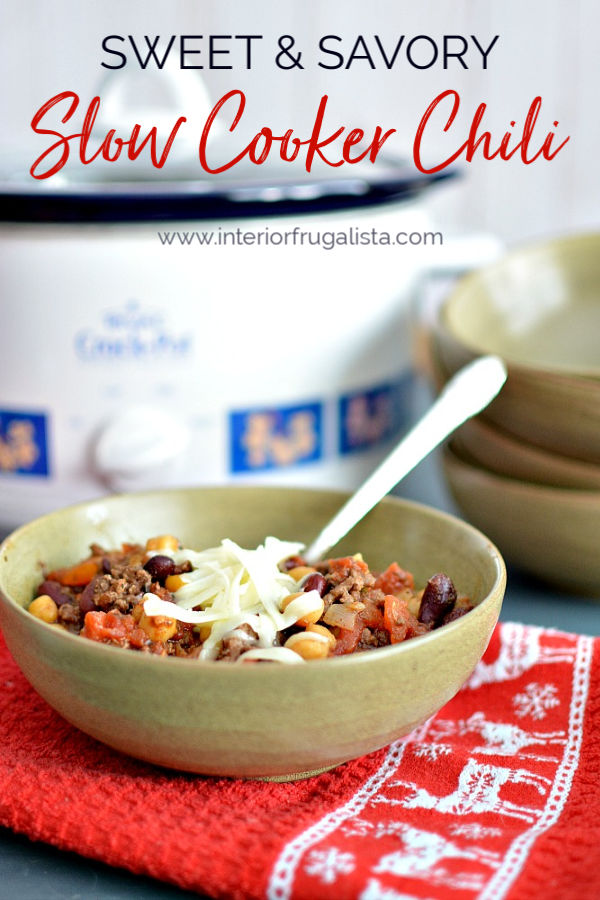 This sweet and savory chili recipe has the kick you expect from chili with a hint of cinnamon and chocolate, great recipe for potluck gatherings. #chilirecipe #sweetandsavoryrecipes #slowcookerchili #potluckchilirecipe #
