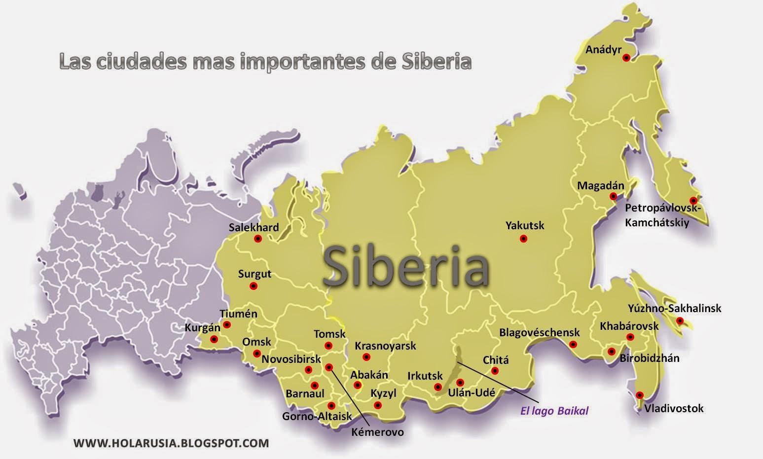 Ciudades De Rusia Mapa.El Mapa De Siberia Las Ciudades Importantes De Siberia