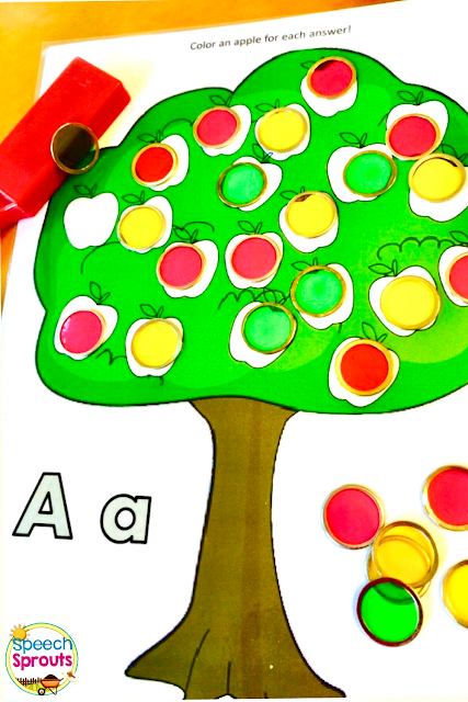 Use this free apple tree fall speech therapy activity with two colors of dot markers or bingo chips for the apples and you'll be able to take therapy data at a glance!  Give a green or yellow for correct, red for incorrect. Fun for your preschool and elementary speech and language sessions with your apple theme or fall theme. Click for more apple theme ideas and download this open-ended activity from Speech Sprouts! #speechtherapy #speechsprouts #apples