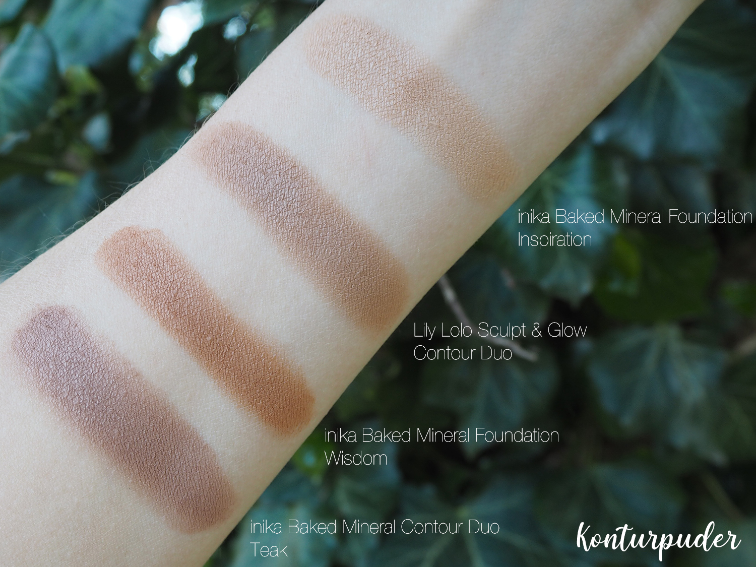 Swatches Lily Lolo Contour Duo, inika Baked Mineral Foundation Inspiration, Wisdom und inika Baked Contour Duo Teak
