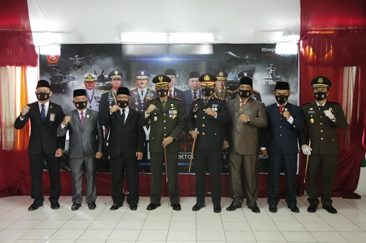 Wawako Zulhelmi Hadiri Upacara Virtual Hut TNI ke-75 Di Makodim 0417/Kerinci