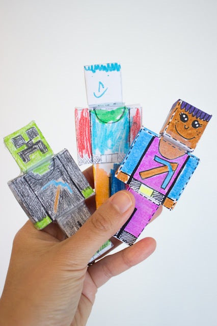 FREE Printable 3D Minecraft Paper Doll Printable Coloring Sheets for Kids