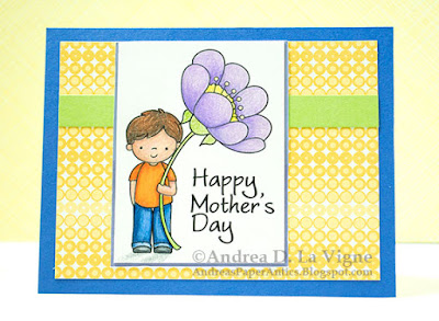 Handmade Happy Mother's Day card with a colored image of a boy holding a giant purple flower