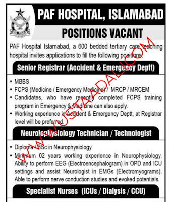 Pakistan Air Force Hospital Jobs 2021