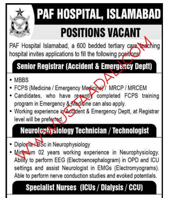 Pakistan Air Force Hospital Jobs 2021   Ustaadali.com