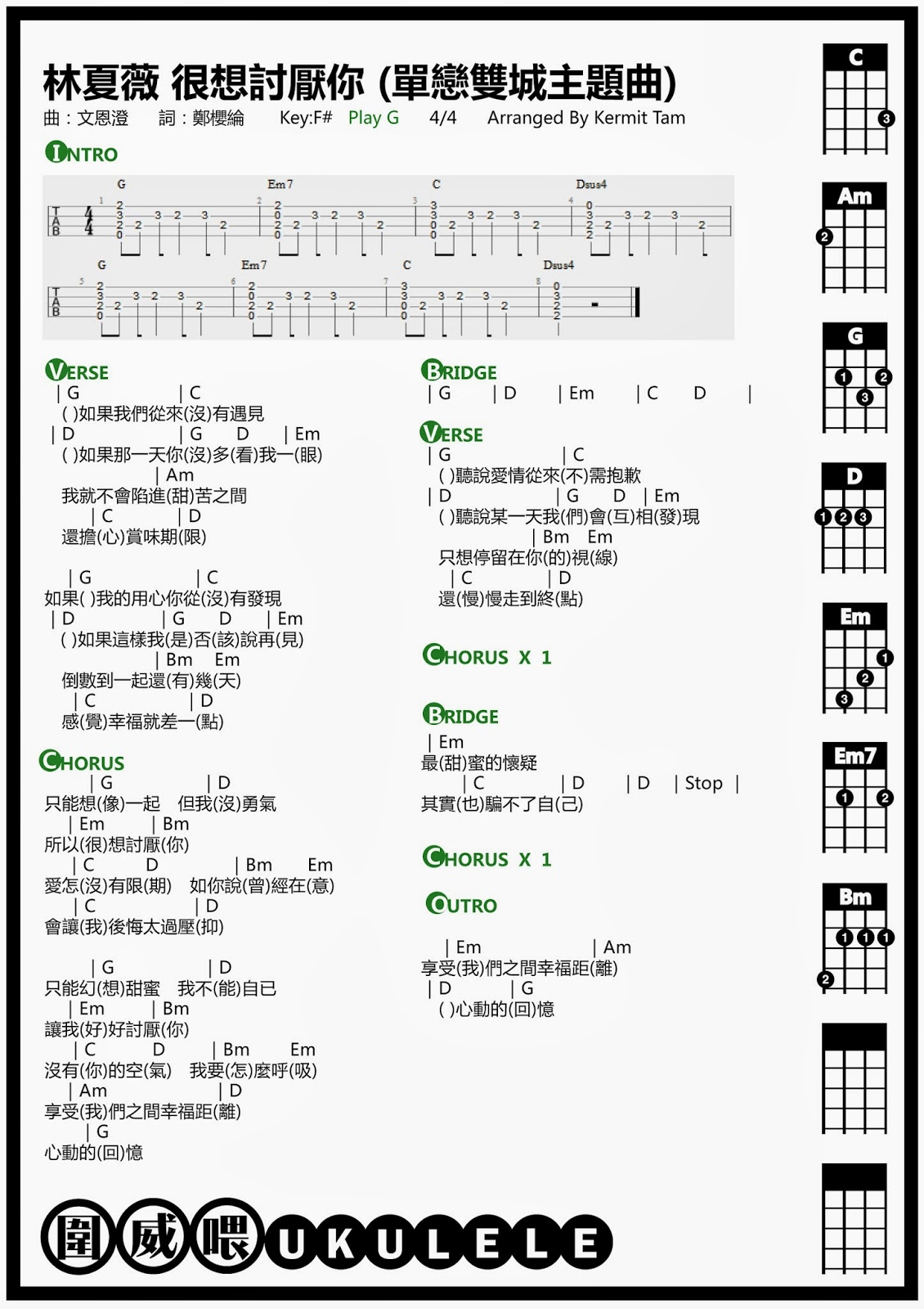 圍威喂 ukulele: 林夏薇 很想討厭你 (單戀雙城主題曲) [ukulele譜 + 教學]
