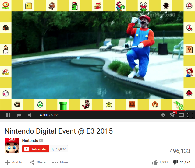 Nintendo Digital Event E3 2015 YouTube like dislike bar thumbs down fan response