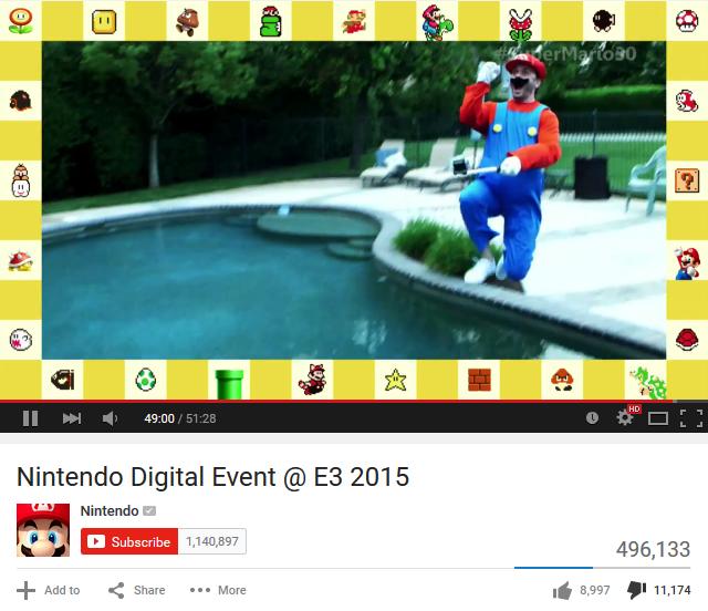 Nintendo Digital Event E3 2015 YouTube like dislike bar thumbs down fan response