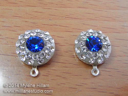 Pavé-style earring component made with Swarovski crystals and resin clay