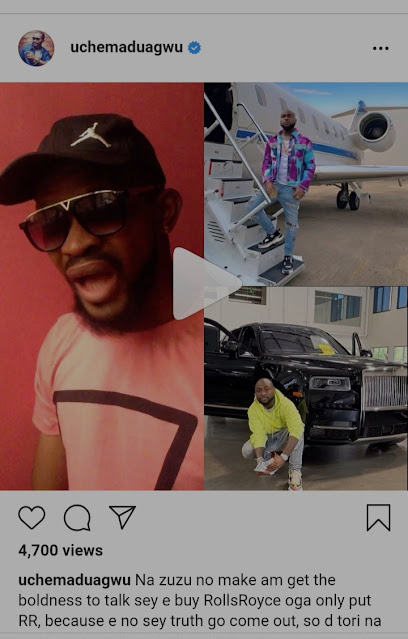 Davido is Lying, He never bought a Rolls Royce, It his father's own- Uche Maduagwu Claims