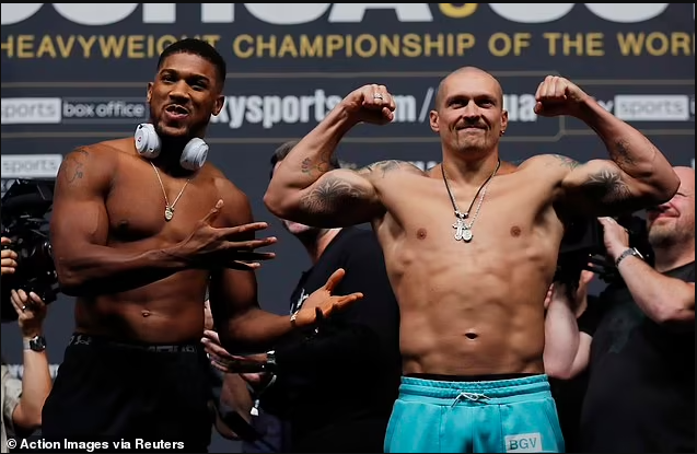 Anthony Joshua weighs in 19lbs heavier than Oleksandr Usyk ahead of their heavyweight title fight tomorrow