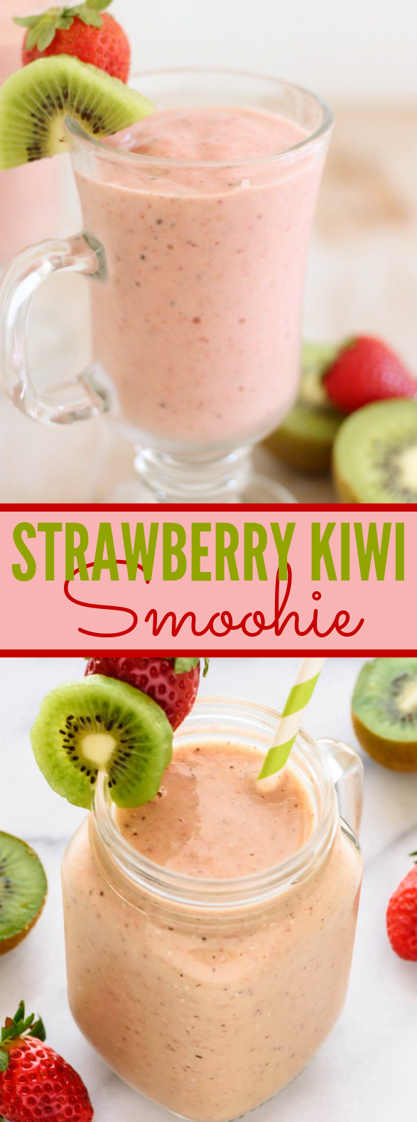 STRAWBERRY KIWI SMOOTHIE #drinks #breakfast