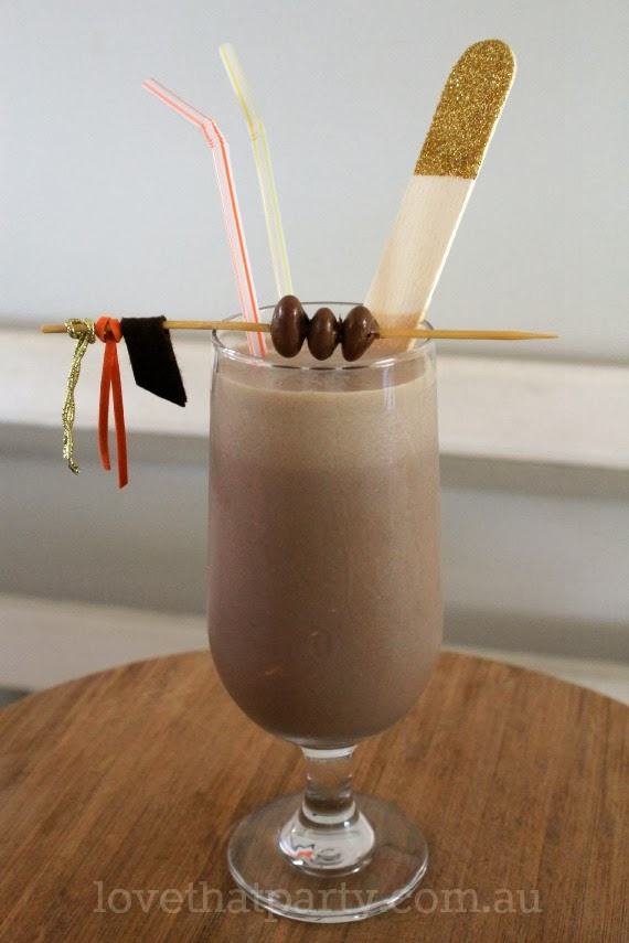 Chocolate and Peanut Butter Shake recipe. Love the cute little DIY drink stirrer. www.lovethatparty.com.au