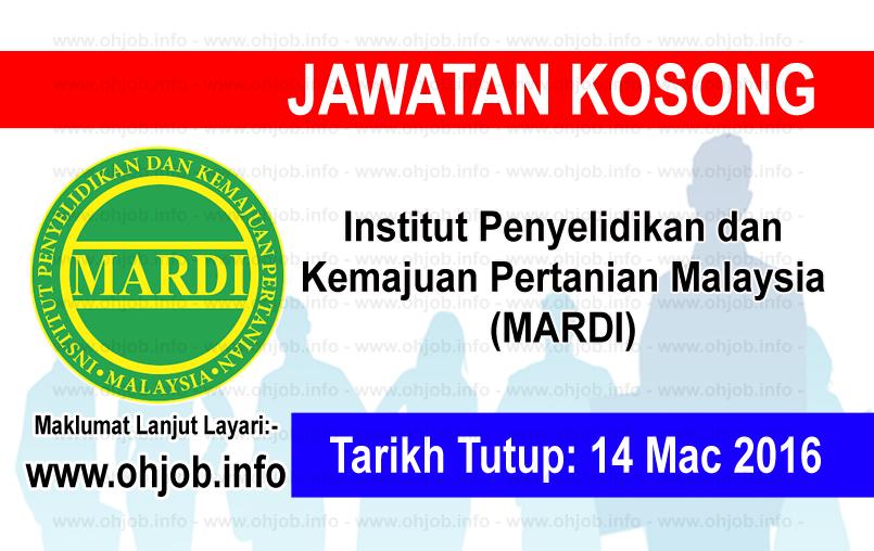 Jawatan Kerja Kosong Institut Penyelidikan dan Kemajuan Pertanian Malaysia (MARDI) logo www.ohjob.info mac 2016