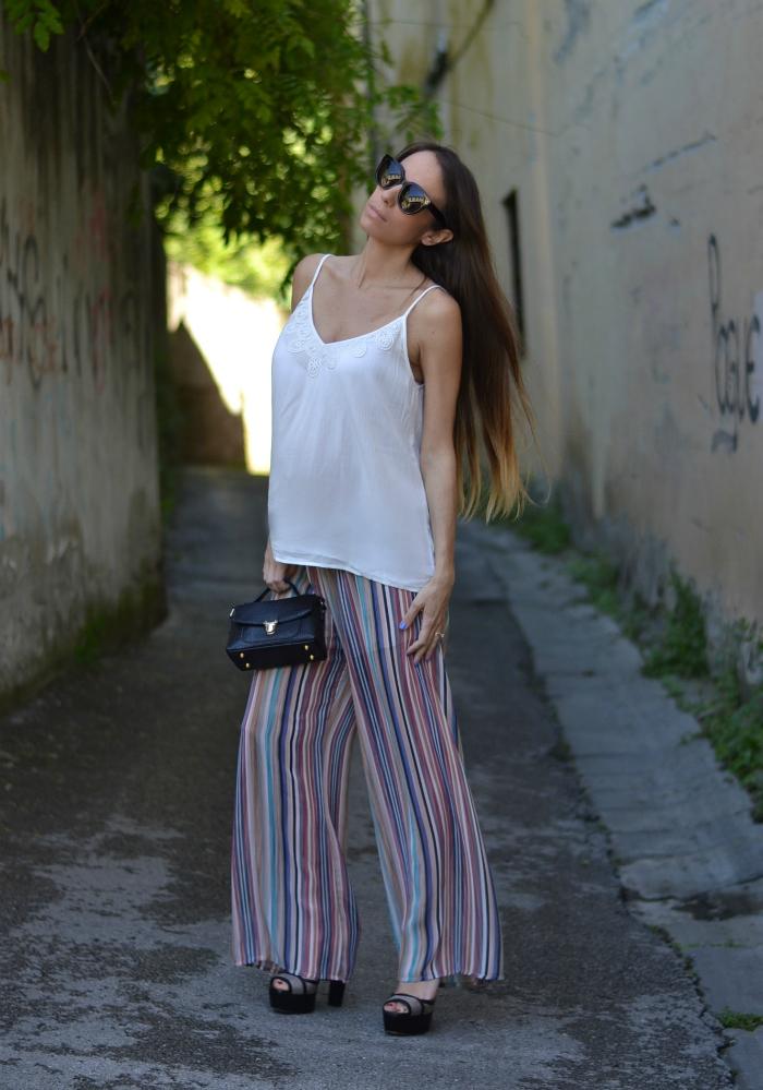 pantaloni righe multicolore