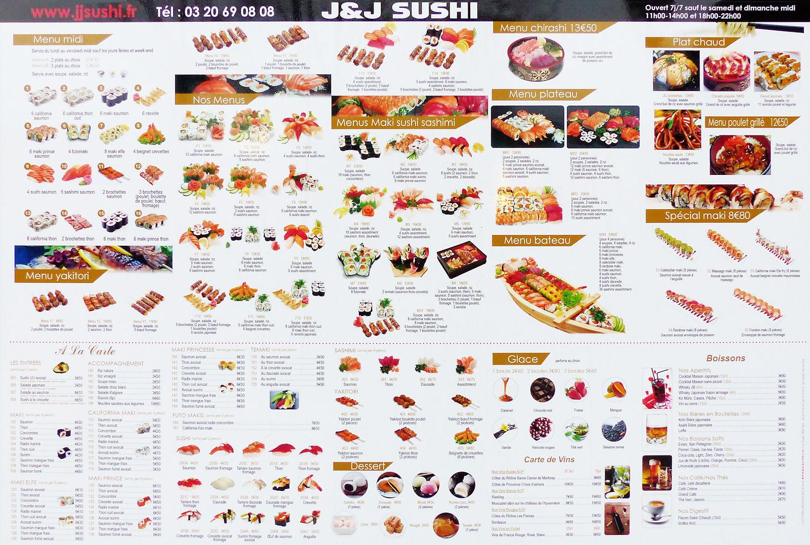 Carte Restaurant J&J Sushi - Tourcoing, Place de la République