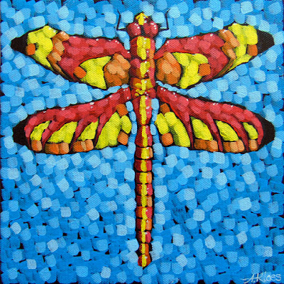 Red dragonfly painting by artist aaron kloss, painting of a dragonfly, artist paints dragonflies, insect painting, paintings of bugs, pointillism