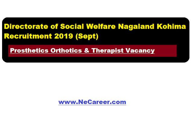Directorate of Social Welfare Nagaland Kohima Recruitment 2019 (Sept) | Prosthetics Orthotics & Therapist Jobs
