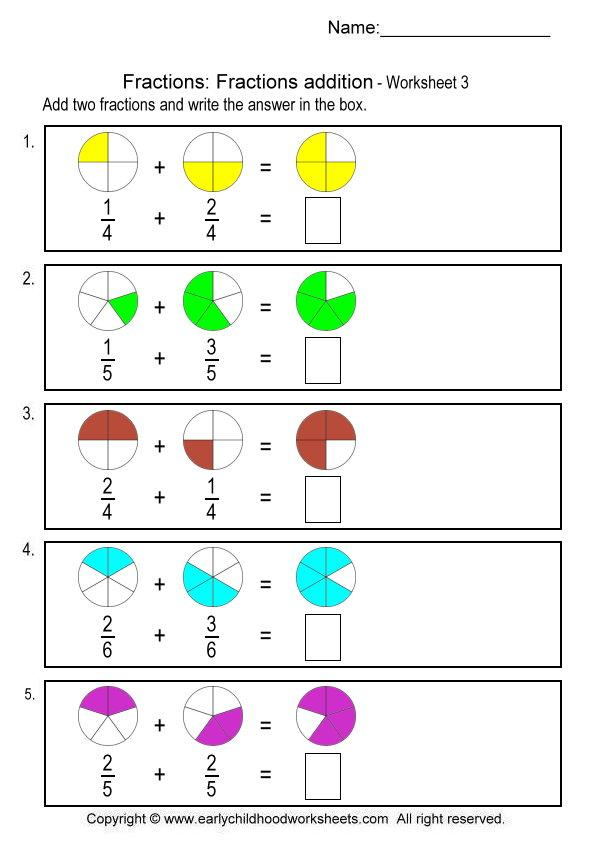 Simple Picture Fraction Worksheets