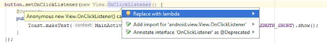 Cara mengganti OnClickListener menjadi menggunakan Lambda Expression Java 8