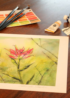 Indian Paintbrush Giclee Fine Art Print Watercolor Artwork of Montana wildflowers