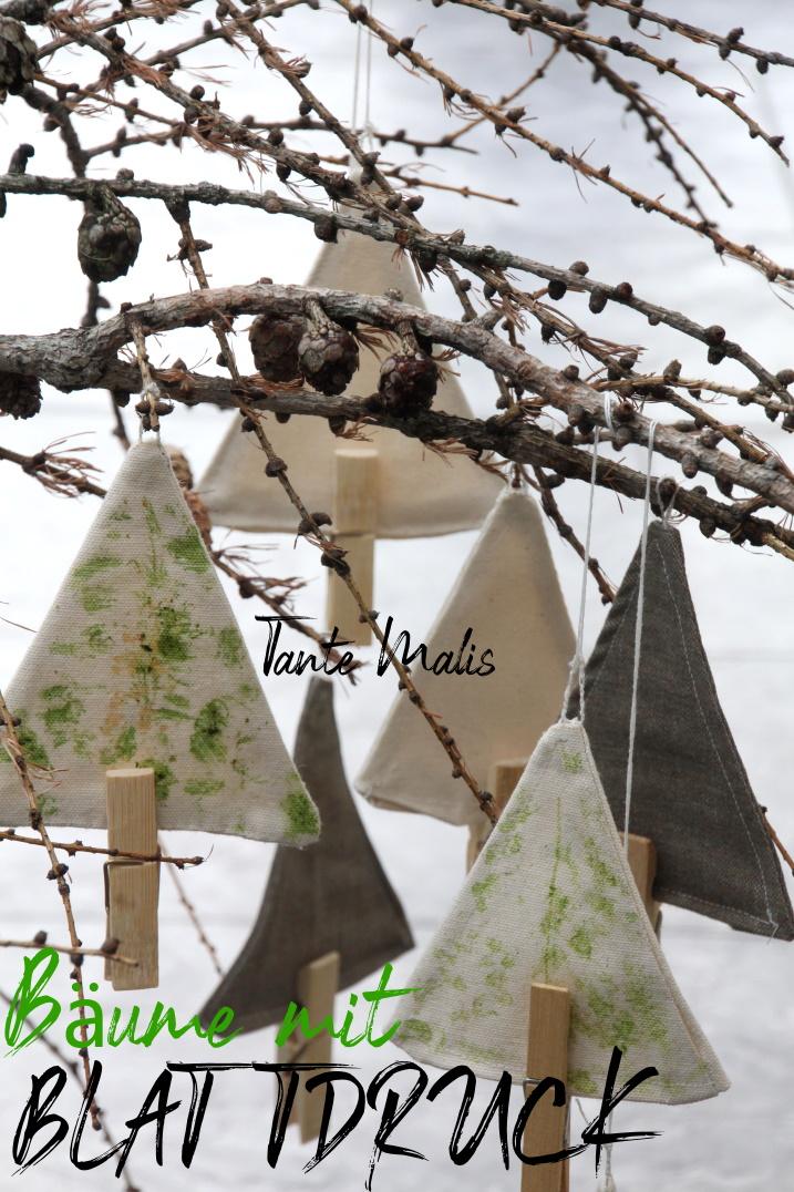 Stoffbäume mit Blattdruck
