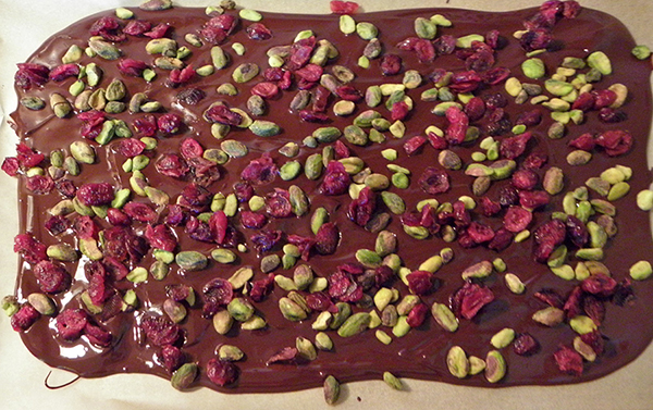 bark with pistachio and cranberry sprinkling