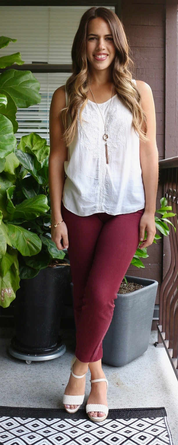 Jules in Flats - White Embroidered Sleeveless Top & Burgundy Pixie Pants for Summer